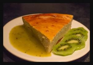 tarte au fromage blanc et son coulis de Kiwi